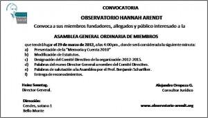 ASAMBLEA GENERAL ORDINARIA DE MIEMBROS 29-03