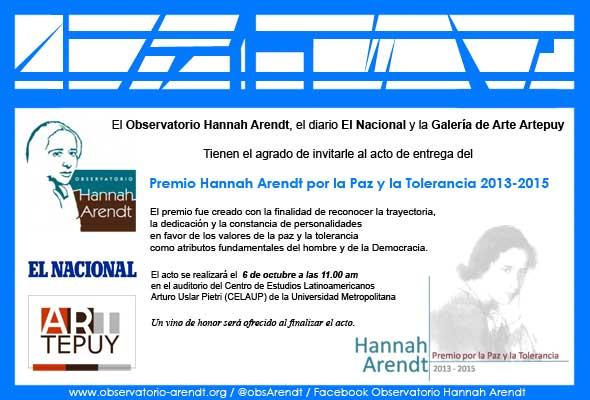 Premio Hannah Arendt por la Paz y la Tolerancia 2013- 2015