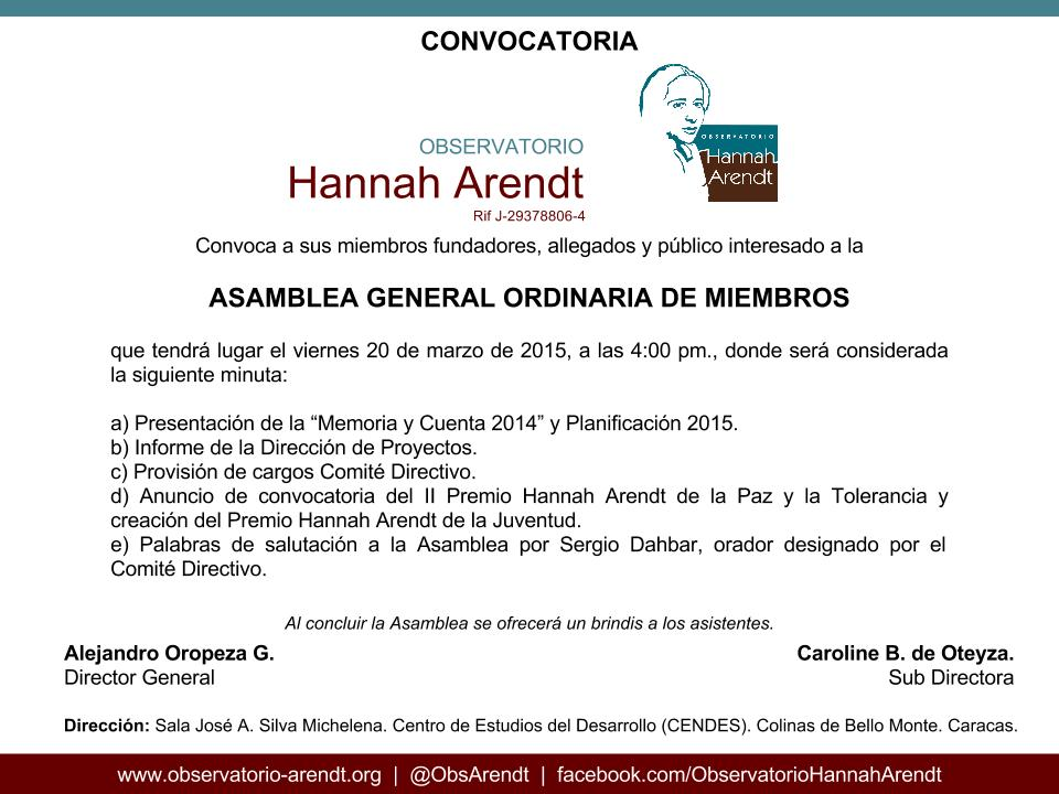 CONVOCATORIA ASAMBLEA GENERAL ORDINARIA DE MIEMBROS 2015