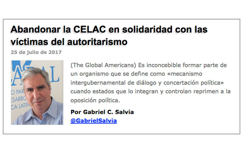 Abandonar la CELAC en solidaridad con las víctimas del autoritarismo