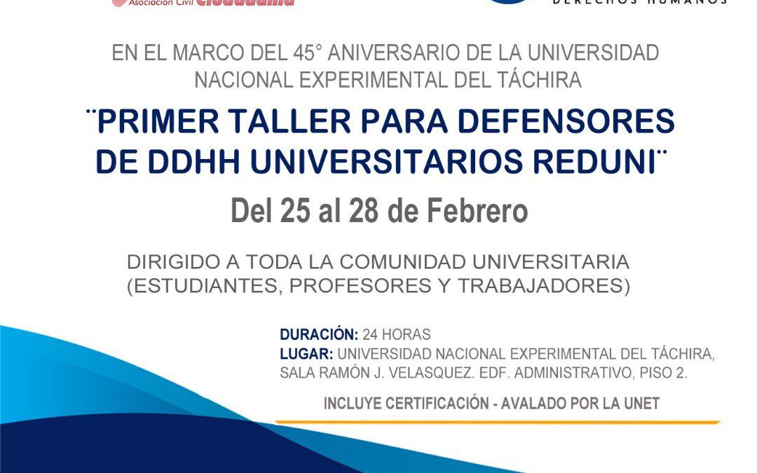 Primer Taller para Defensores de DDHH Universitarios REDUNI