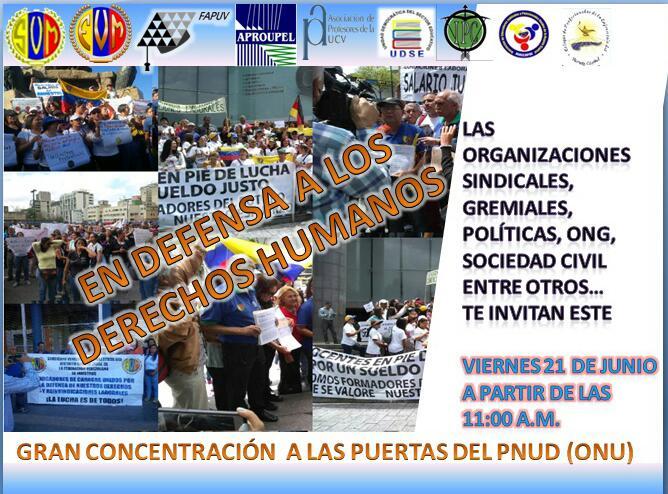 Concentración en el PNUD (ONU), viernes 21 de junio