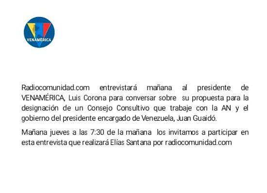 Entrevista a Luis Corona por Radiocomunidad.com – Jueves 9 enero, 7:30 am