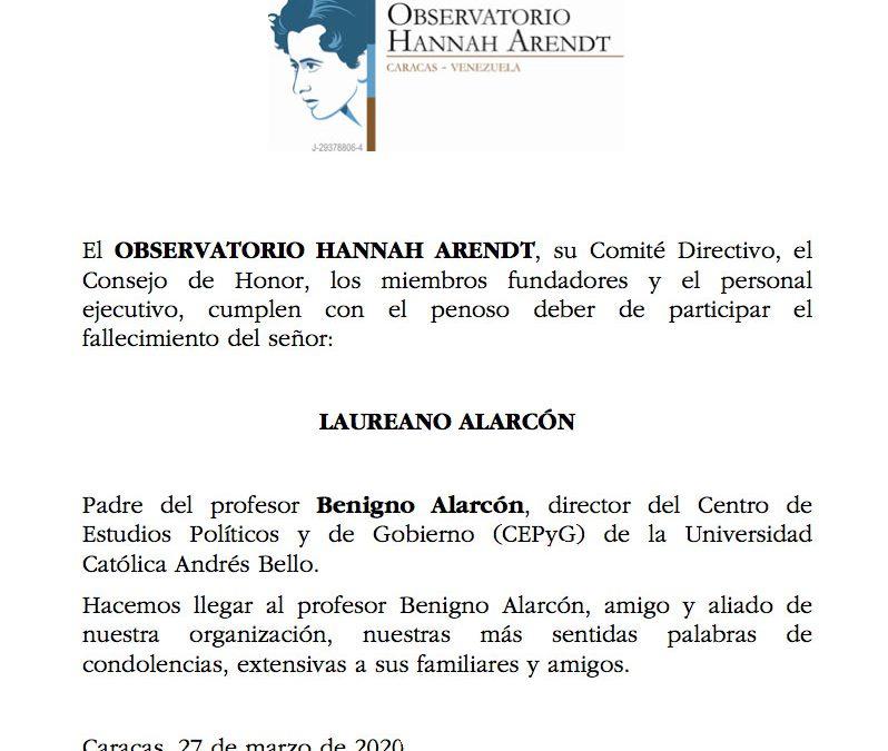 Desde el OHA  lamentamos la muerte del padre del profesor Benigno Alarcón