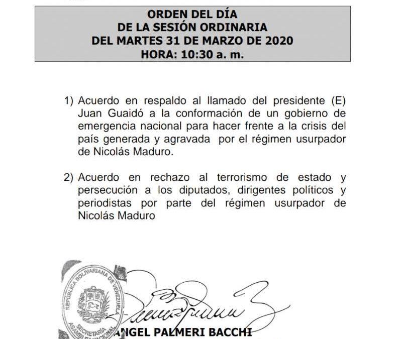 Orden del día Sesión Ordinaria AN, 31-3-2020