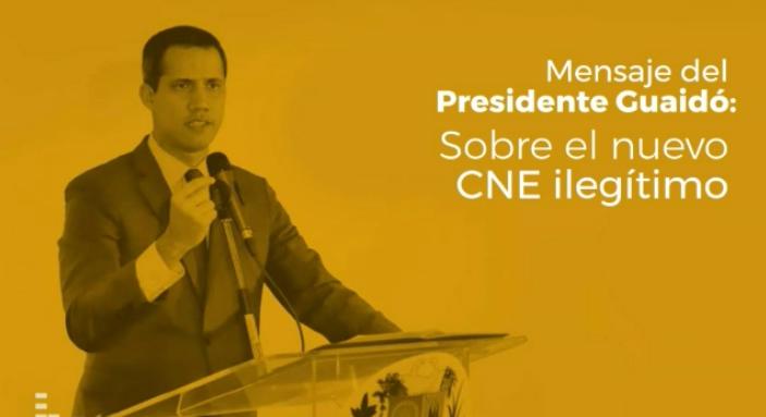 Mensaje del Presidente Juan Guaidó sobre el nuevo CNE ilegítimo