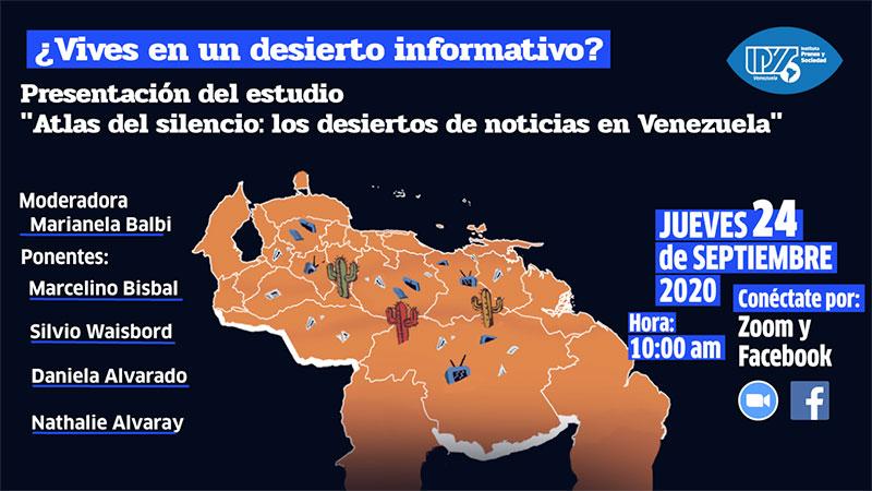 IPYS Venezuela invita a la presentación de estudio sobre los desiertos de noticias en el país