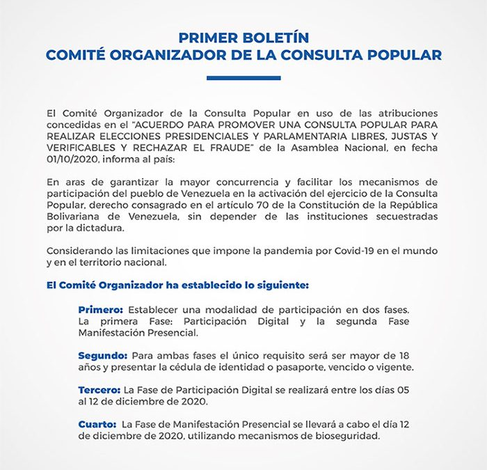 Primer Boletín del Comité Organizador de la Consulta Popular
