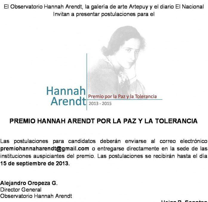 Premio Hannah Arendt por la Paz y la Tolerancia
